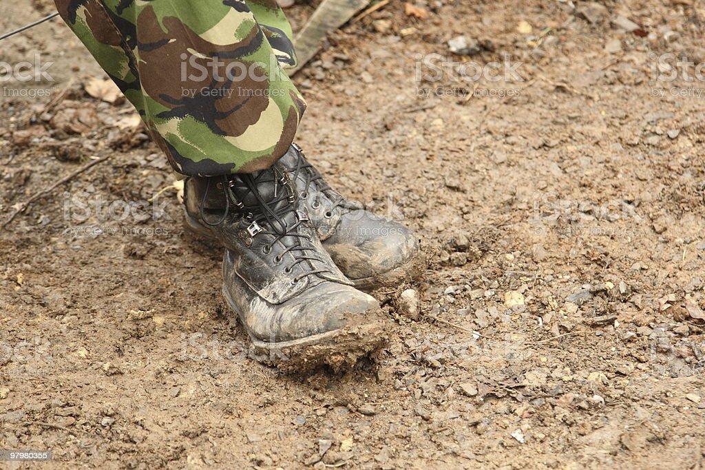 Muddy british army boots royalty-free stock photo