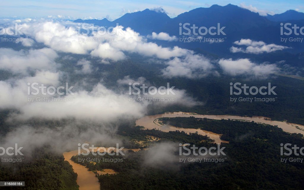 Muddy brown river Borneo stock photo