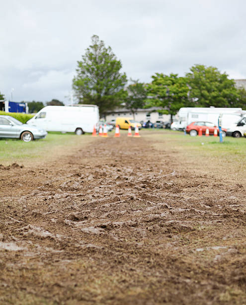 Muddy Car park stock photo