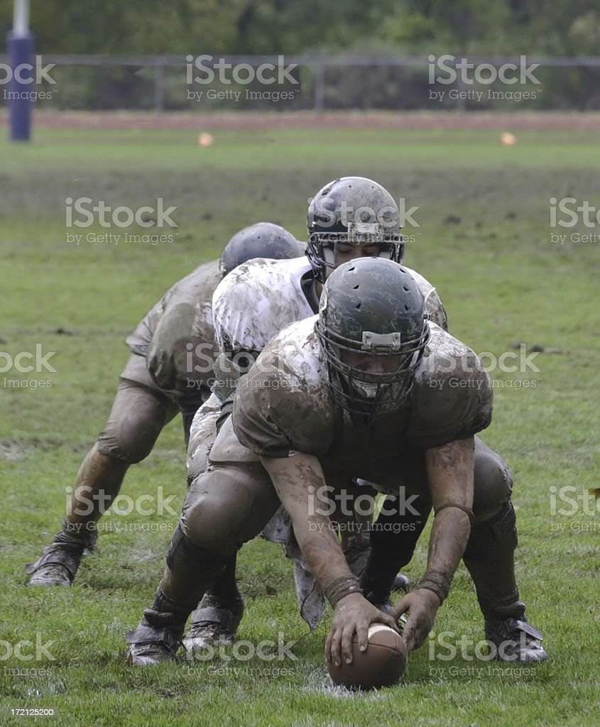 Muddy Football Players royalty-free stock photo