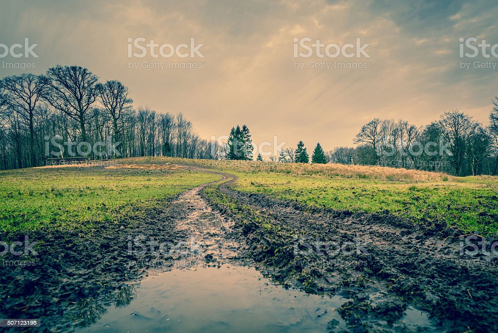 Muddy road with a puddle stock photo