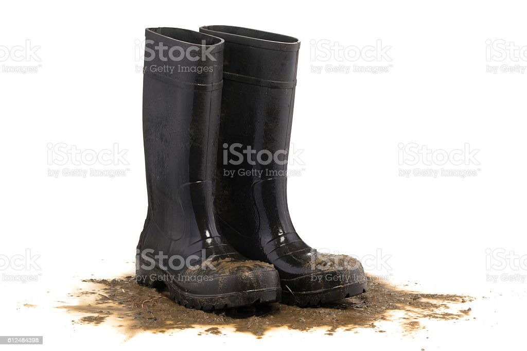 Muddy rubber boots 3/4 view isolated on white background – Foto