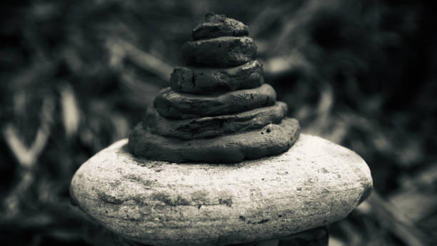 Muddy structures on a stone surface photo stock photo