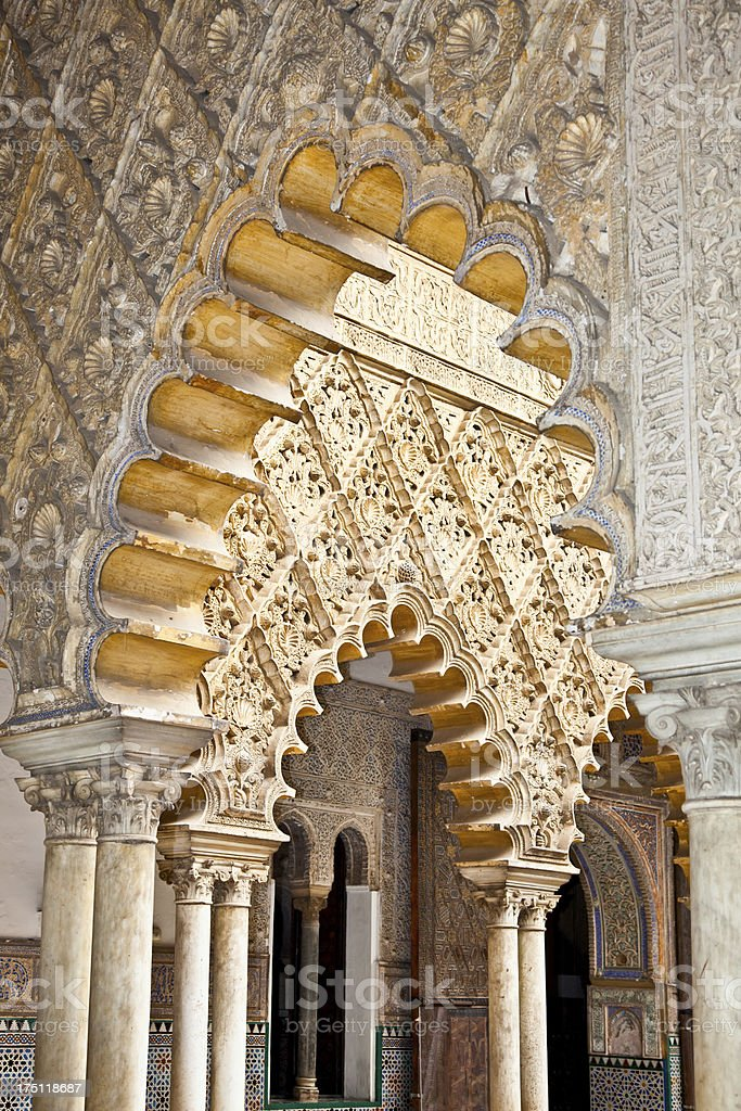 Mudejar decorations in the Royal Alcazars of Seville, Spain stock photo