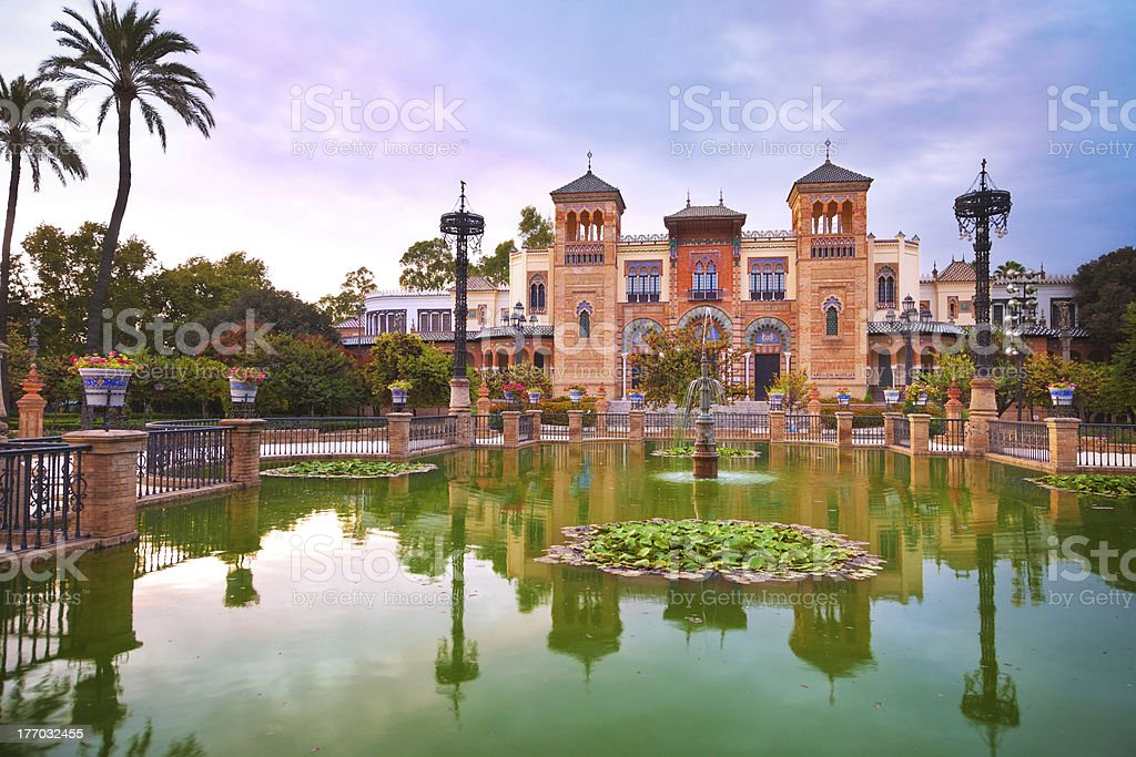 Mudejar Pavilion and pond at sunset. Sevilla stock photo