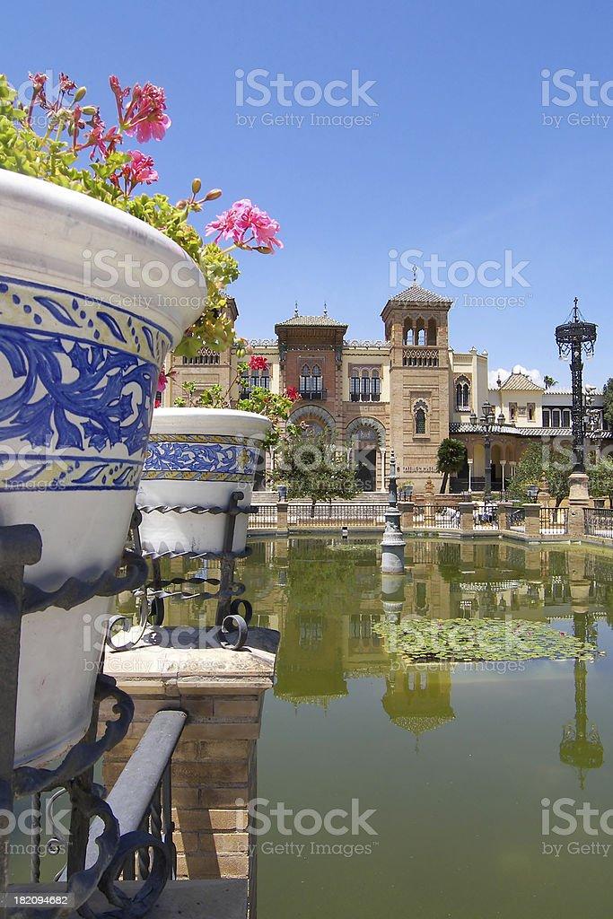 Mudejar pavilion in Maria Luisa park. Seville, Spain royalty-free stock photo