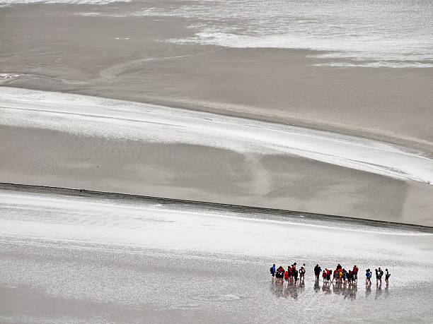 mudflat hiking near mont-saint-michel - 泥灘 個照片及圖片檔