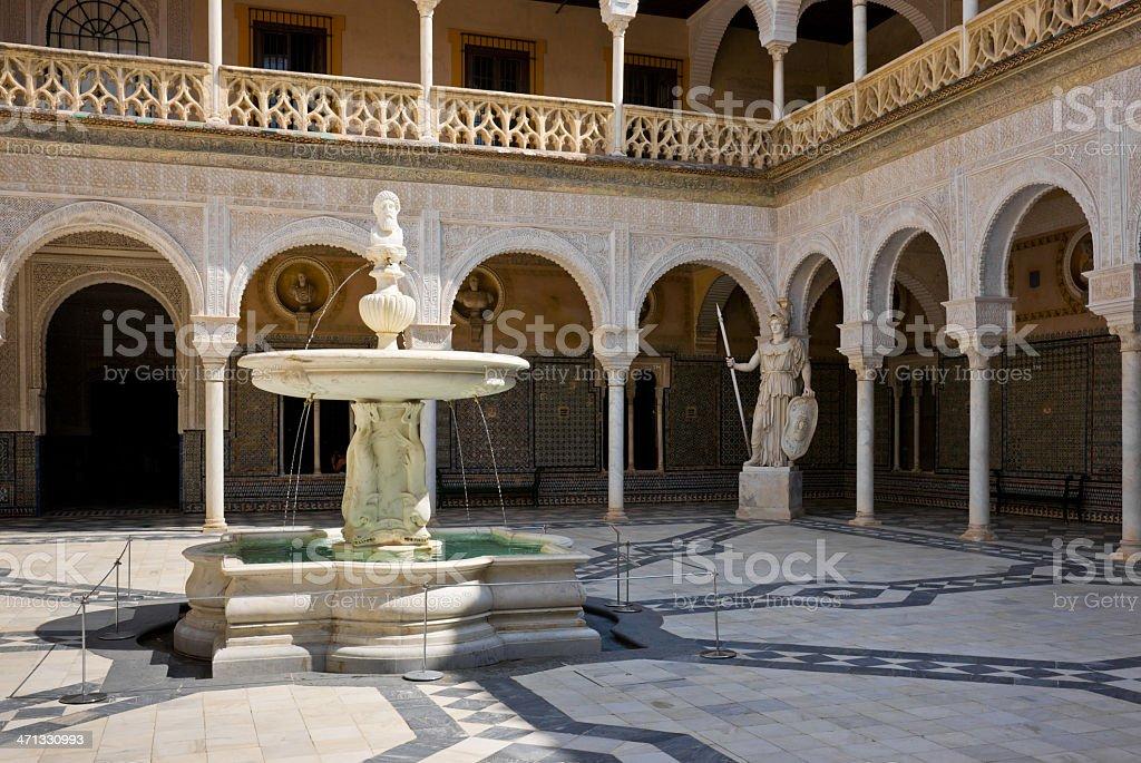 Mudéjar Patio Principal of La Casa de Pilatos, Seville, Spain royalty-free stock photo
