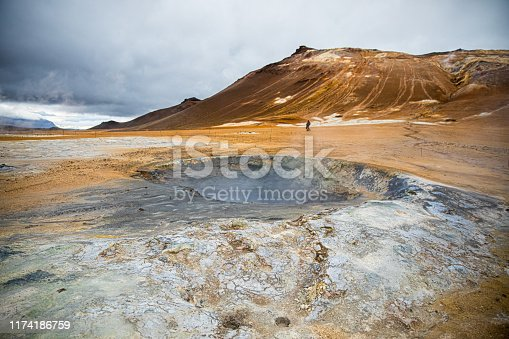 Steam and gases rising from volcanic landscape