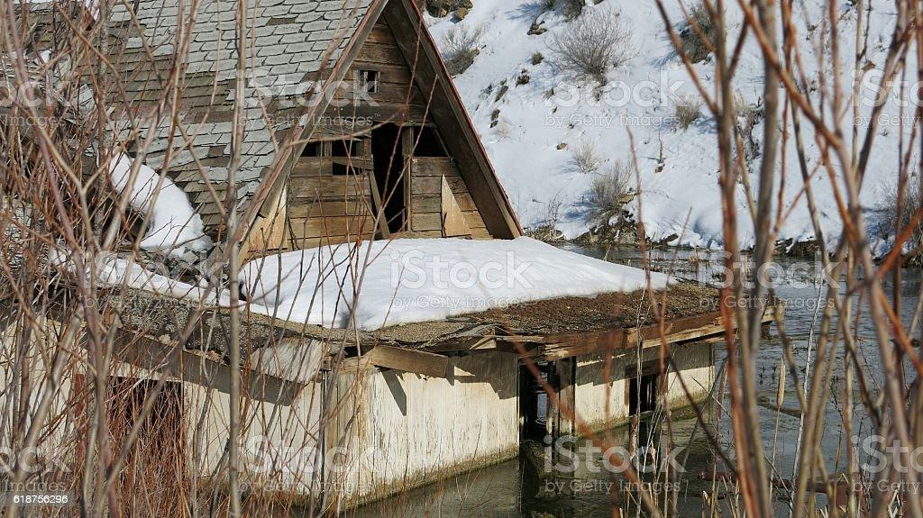 Mudslide Rockslide Abandoned Flooded House, Mountain, Valley, Utah, Winter, Snow stock photo