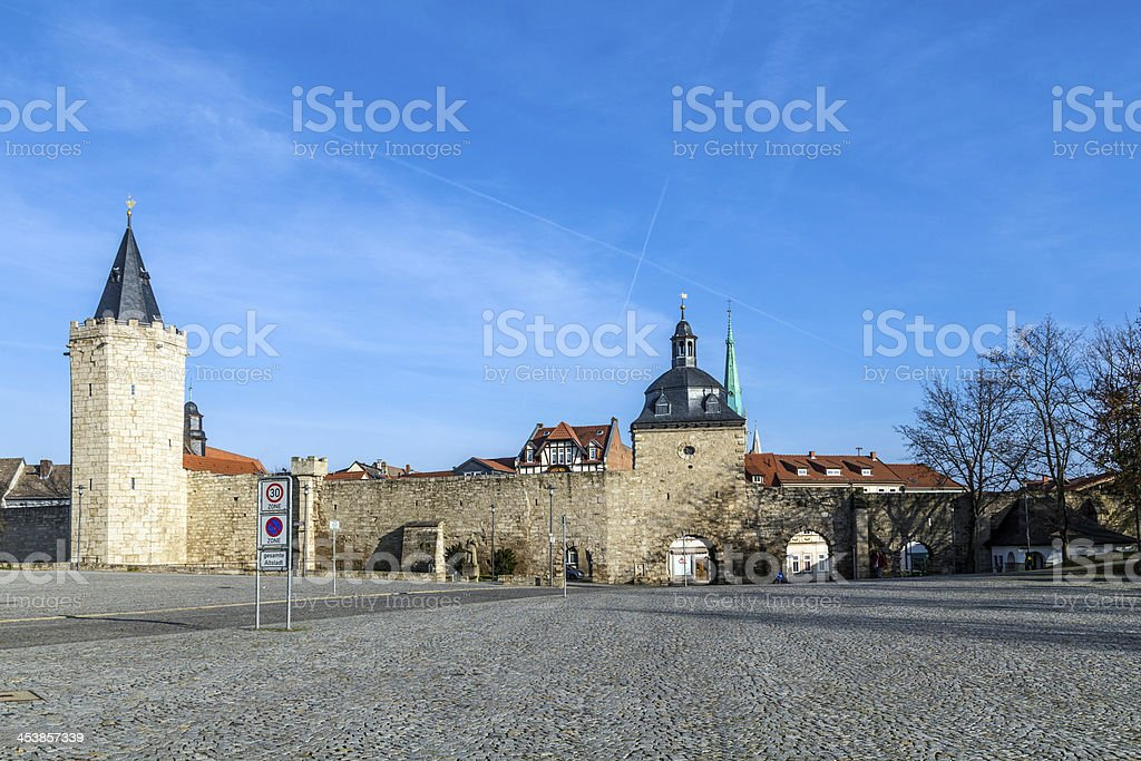 Muehlhausen, woman gate at historic town wall with raven tower stock photo