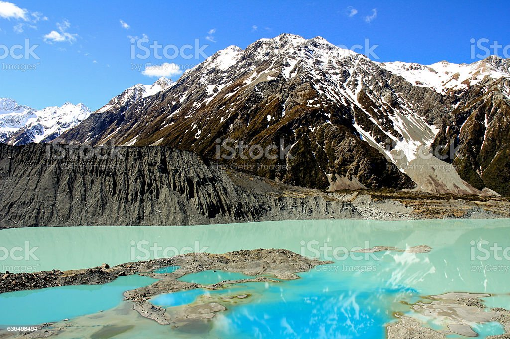 Mueller Glacier Lake in Mount Cook National Park New Zealand stock photo