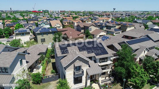 istock Mueller Suburb Solar Panel Rooftops and Modern Austin Living 945938110