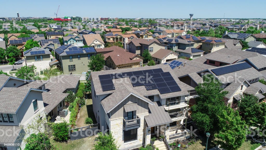 Mueller Suburb Solar Panel Rooftops and Modern Austin Living stock photo
