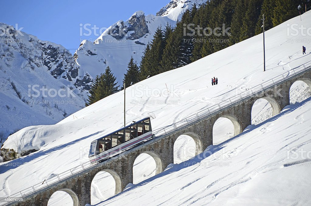 Muerren, famous Swiss skiing resort stock photo