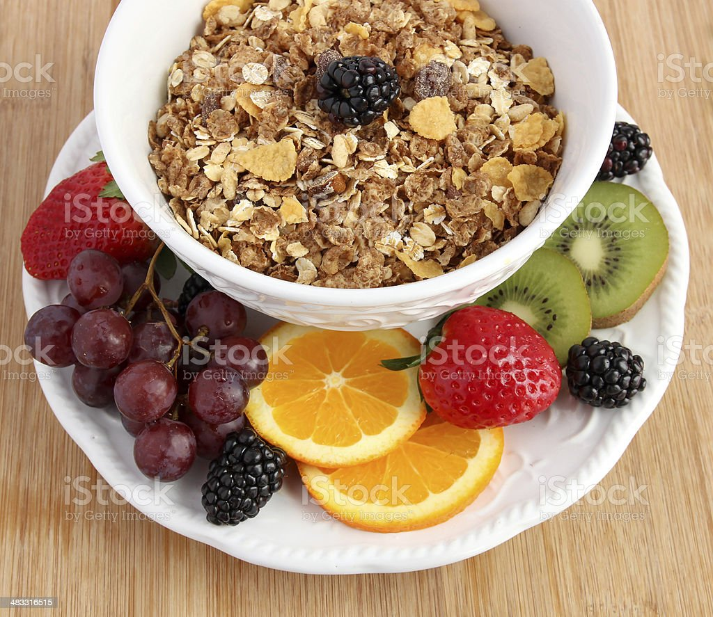 Muesli cereal with fruit stock photo