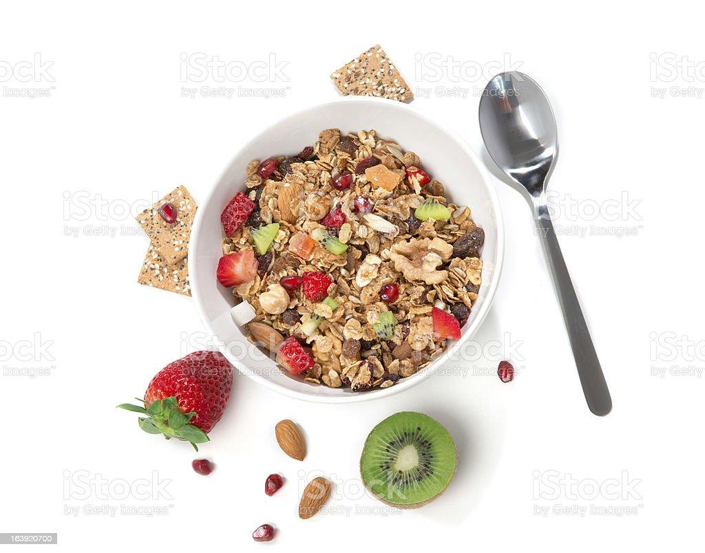Muesli cereales bowl y la cuchara - Foto de stock de Alimento libre de derechos