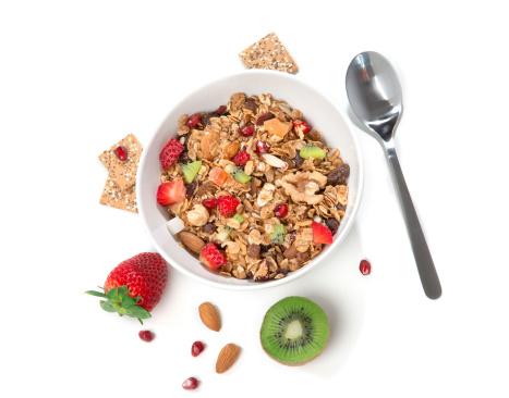 Muesli Cereales Bowl Y La Cuchara Foto de stock y más banco de imágenes de Alimento