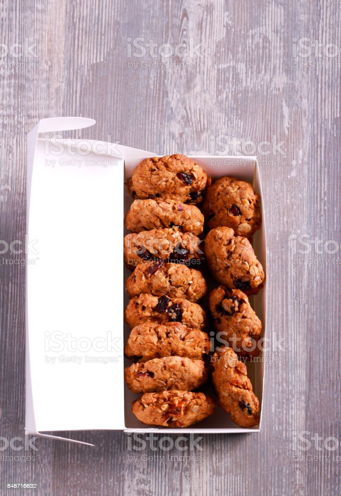 Muesli cookies in paper box stock photo