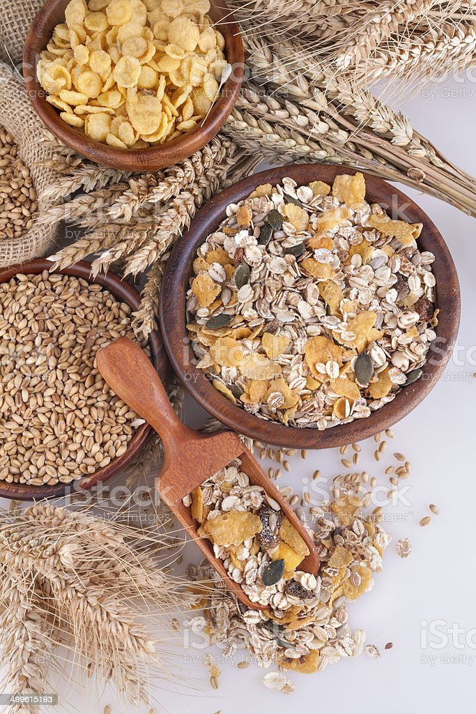 Muesli, cornflakes and wheat stock photo
