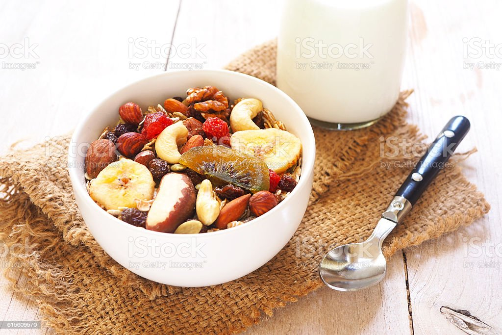 muesli mixed with dried fruit and nuts stock photo