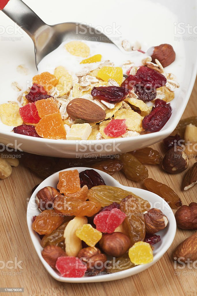 Muesli with dried fruit royalty-free stock photo
