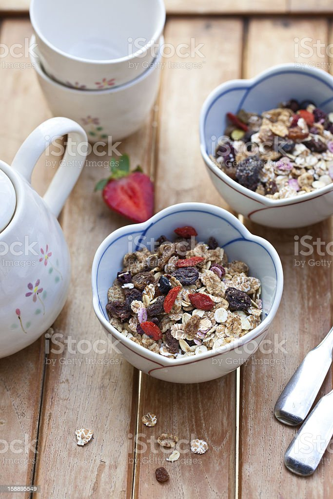 Muesli with dried fruits royalty-free stock photo