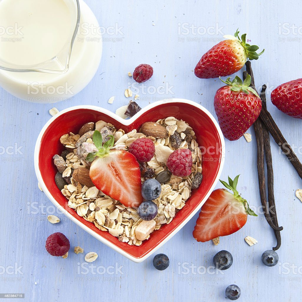 Muesli with fresh berries stock photo