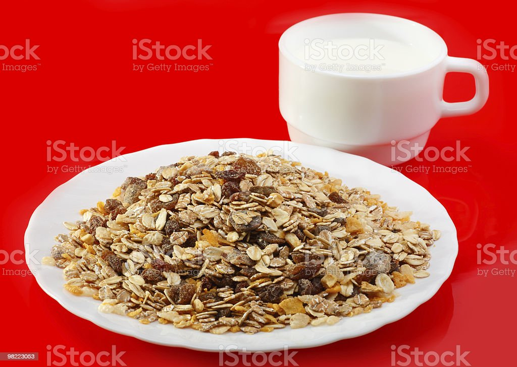 Muesli with milk royalty-free stock photo