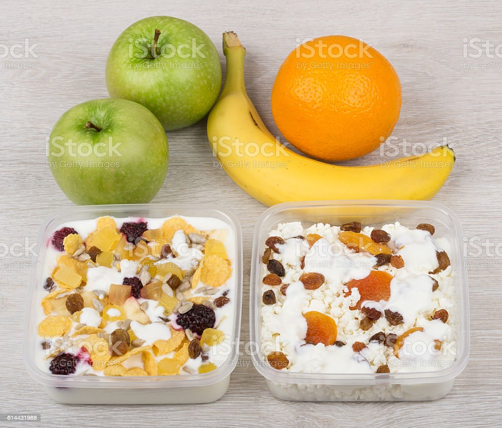 Phenomenal Muesli With Yogurt Cottage Cheese Dried Fruit Banana Green A Home Interior And Landscaping Palasignezvosmurscom