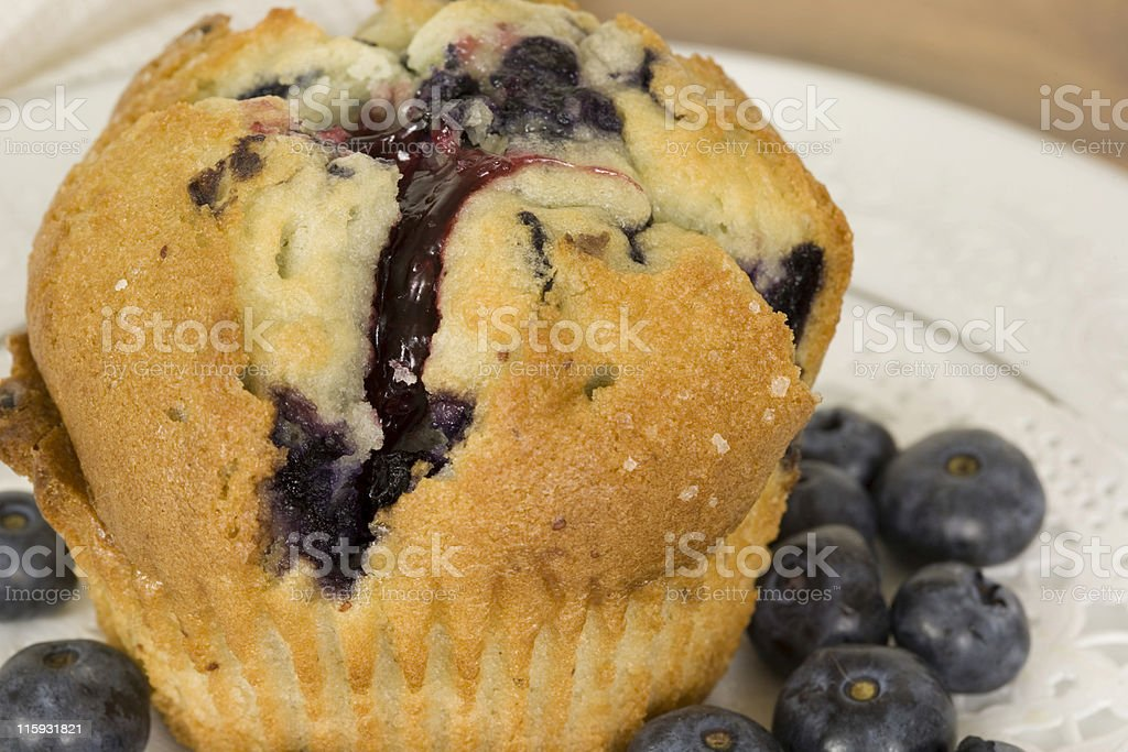 Muffin and Blueberries royalty-free stock photo