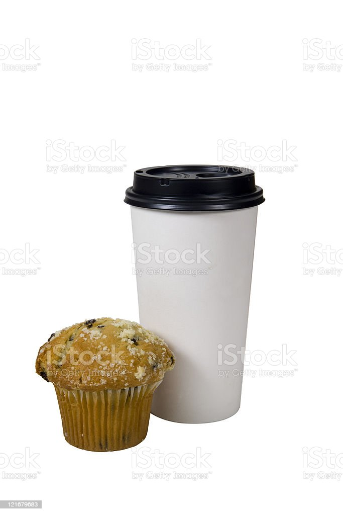 muffin and coffee to go royalty-free stock photo