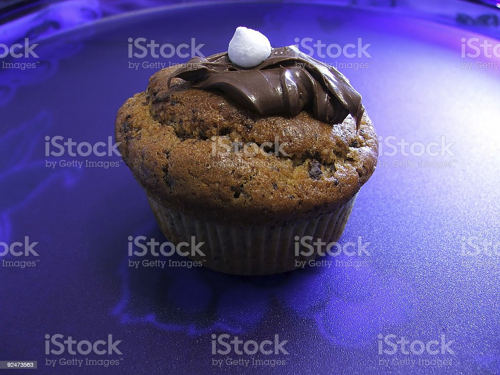 Muffin on Blue Tray royalty-free stock photo