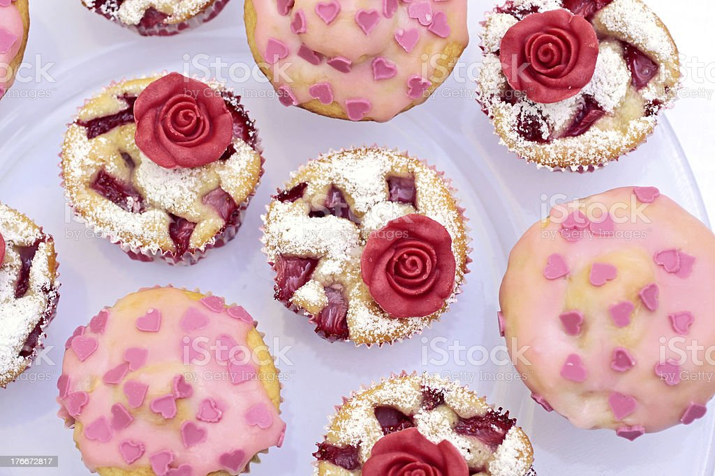Muffin with marchpane rose royalty-free stock photo