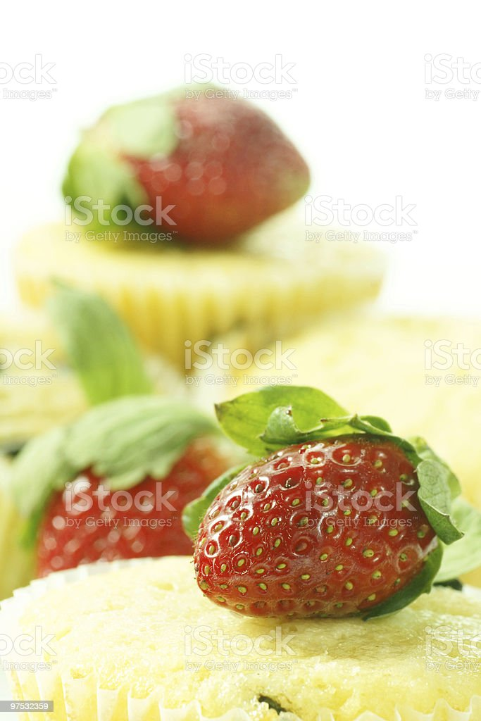 muffin with strawberry topping royalty-free stock photo