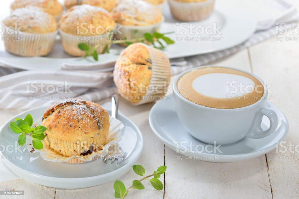 Muffins and cappuccino royalty-free stock photo