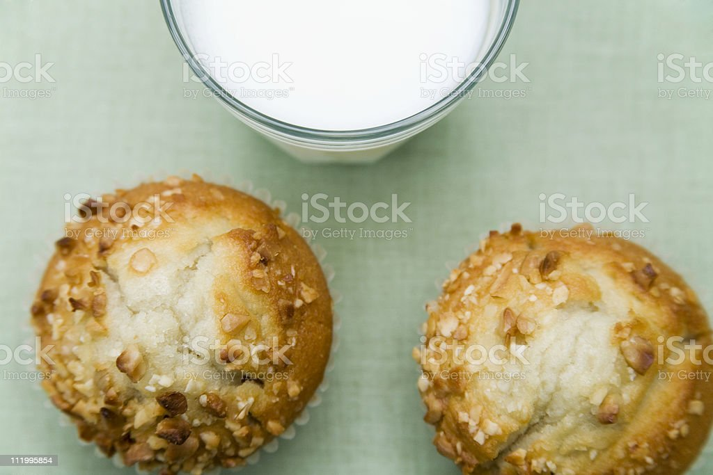 Muffins and milk stock photo