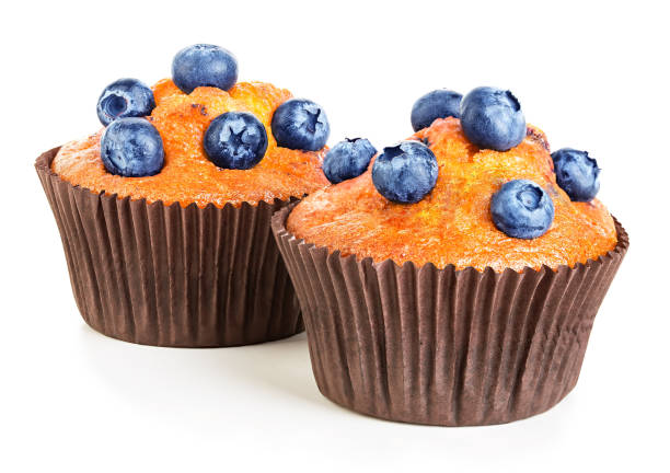 Muffins isolated on white. stock photo