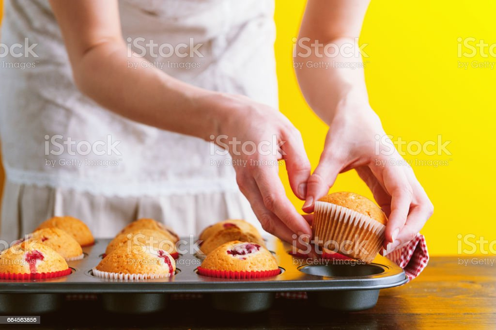 muffins on a bright yellow background royalty-free stock photo