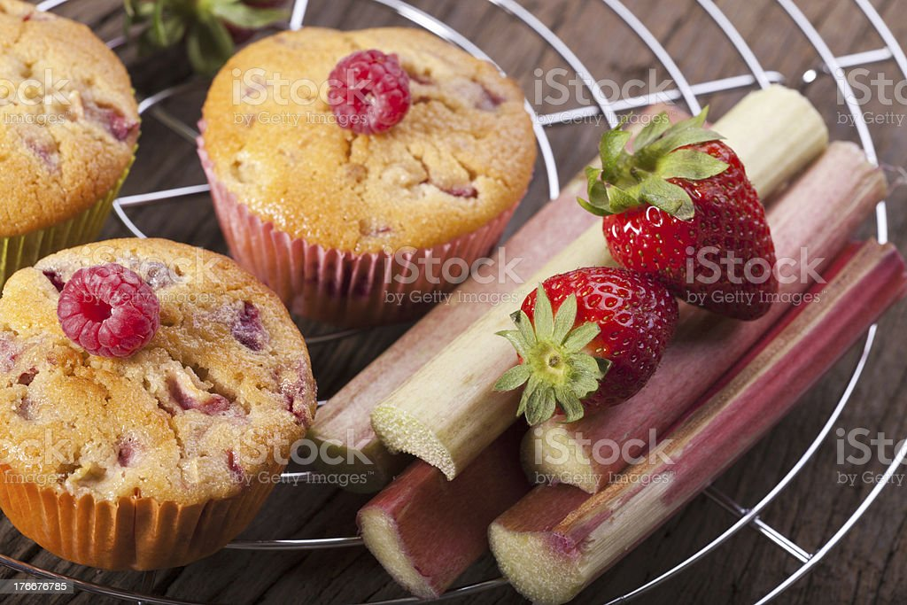 Muffins on a cake wire rack royalty-free stock photo