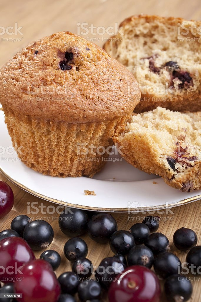 muffins on a plate and berries royalty-free stock photo
