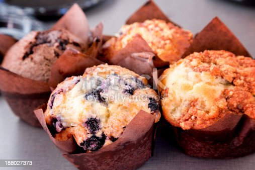 Blueberry and other fresh muffins