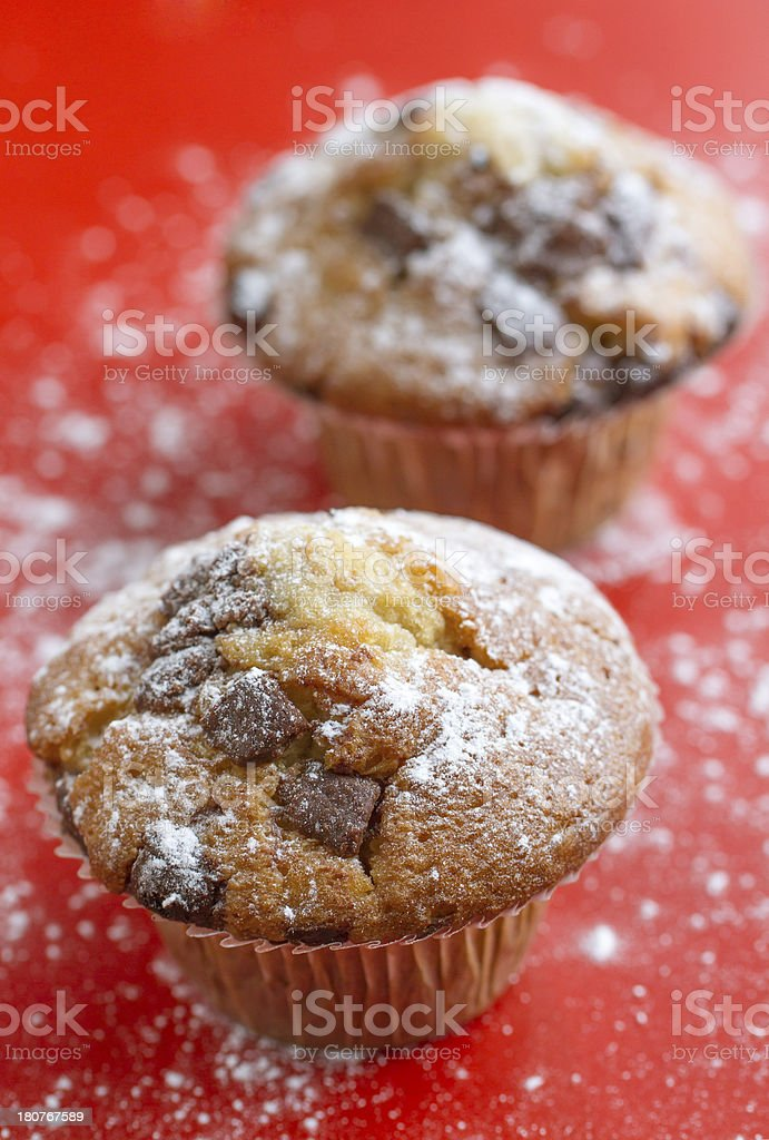 Muffins with chocolate chips royalty-free stock photo