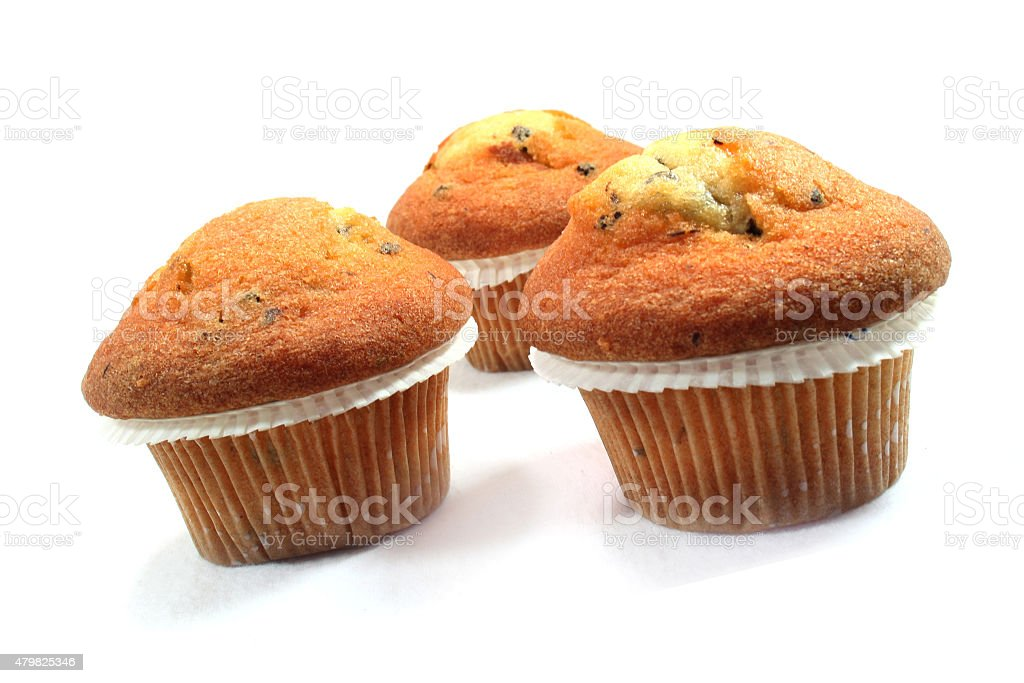 Muffins with chocolate chips stock photo