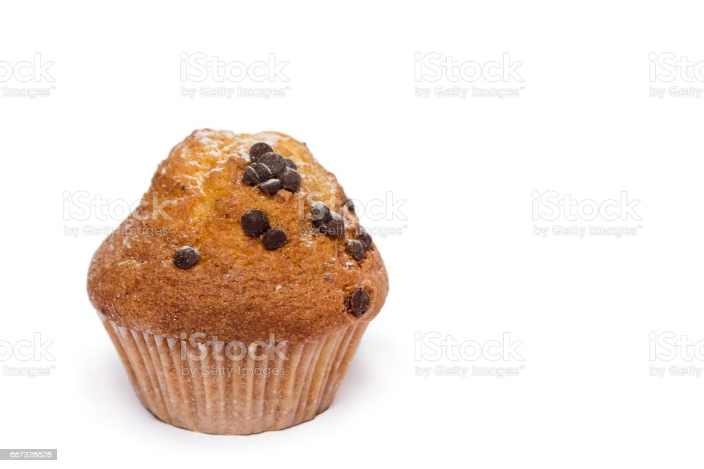 muffins with chocolate drops stock photo