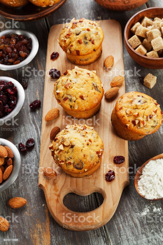 Muffins with dried fruits stock photo