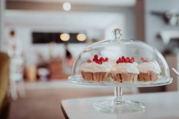 Muffins with fresh cranberries stock photo