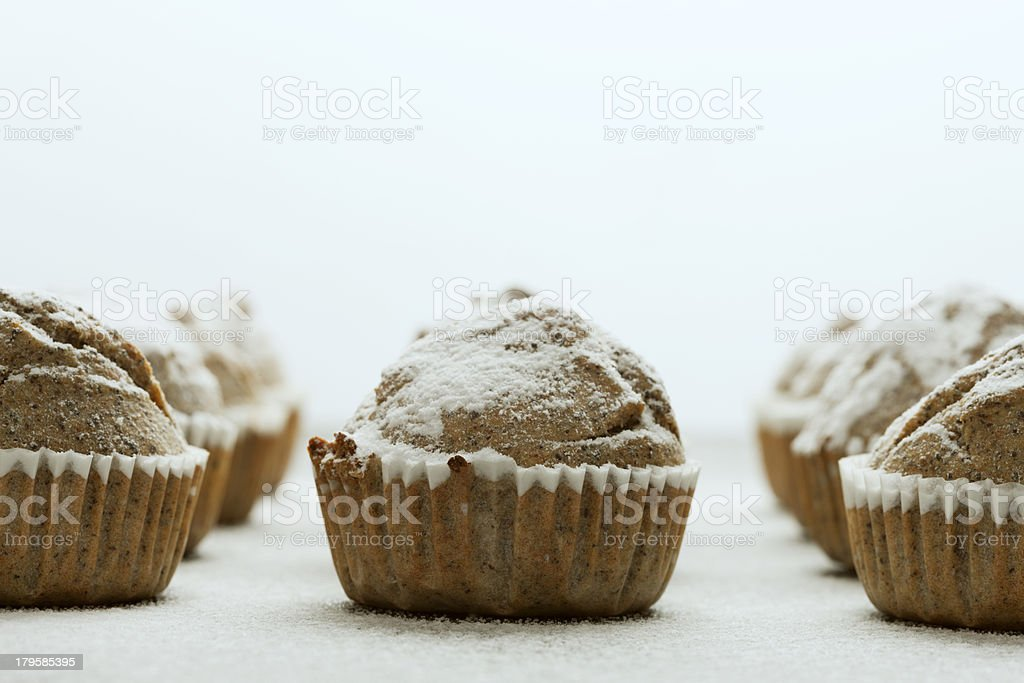 Muffins with icing sugar royalty-free stock photo