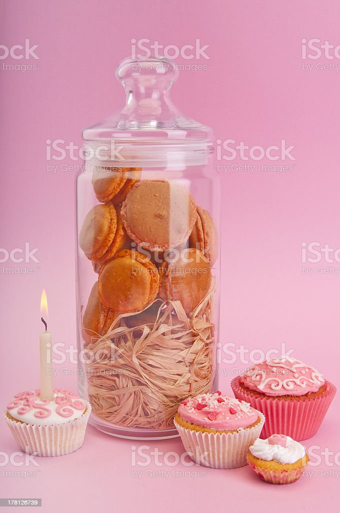 Muffins with macaroons royalty-free stock photo