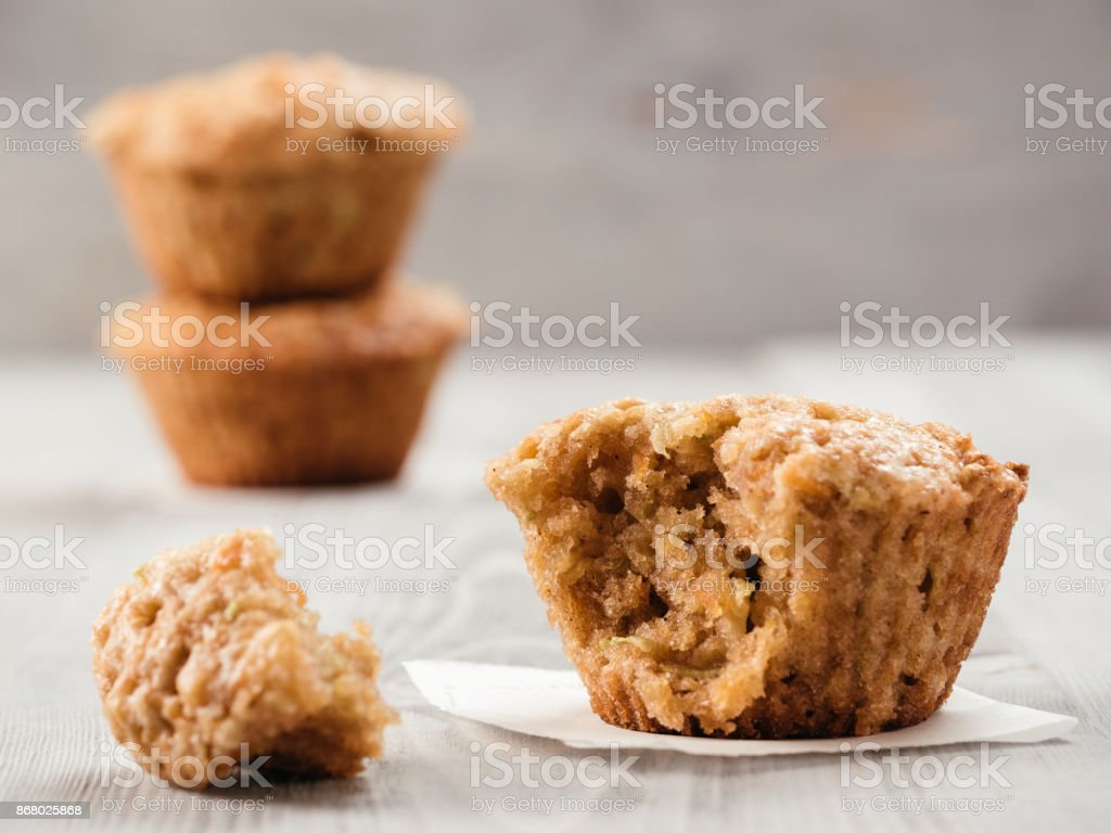 Muffins with zucchini, carrots, apple and cinnamon stock photo